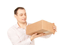 Zakenman met pakket Stock Afbeelding