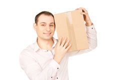 Zakenman met pakket Stock Fotografie