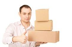 Zakenman met pakketten royalty-vrije stock afbeelding