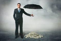 Zakenman met paraplu Royalty-vrije Stock Afbeelding