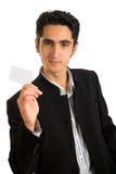 Zakenman met plastic kaart. Royalty-vrije Stock Afbeeldingen