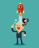 Zakenman met raketschip lancering van zijn hoofd Stock Afbeeldingen