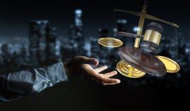 Zakenman met rechtvaardigheidshamer en weegschaal het 3D teruggeven Royalty-vrije Stock Afbeelding