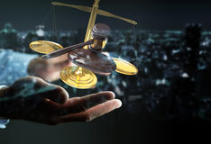 Zakenman met rechtvaardigheidshamer en weegschaal het 3D teruggeven Stock Afbeeldingen