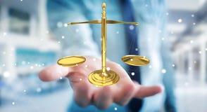 Zakenman met rechtvaardigheidsweegschaal het 3D teruggeven Royalty-vrije Stock Afbeelding