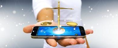 Zakenman met rechtvaardigheidsweegschaal het 3D teruggeven Stock Fotografie