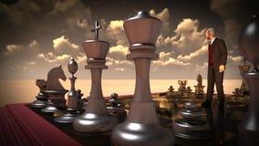 Zakenman met schaakraad Hersenen en flitsen royalty-vrije illustratie