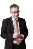 Zakenman met smartphone Stock Foto's