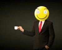 Zakenman met smileygezicht Stock Afbeelding