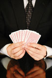 Zakenman met speelkaarten royalty-vrije stock foto's