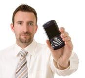 Zakenman met telefoon Stock Foto