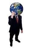 Zakenman met telefoon van de de holdingscel van de Aarde de hoofd royalty-vrije stock foto's