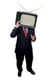 Zakenman met televisiehoofd stock afbeelding