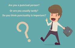 Zakenman met tijd van de regel de punctuele discipline beeldverhaal van busine vector illustratie