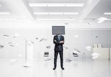 Zakenman met TV in plaats van hoofd Stock Fotografie