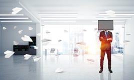 Zakenman met TV in plaats van hoofd Stock Foto