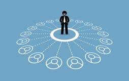 Zakenman met veel contacten en sterk bedrijfsnetwerk Royalty-vrije Stock Afbeelding