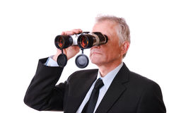 Zakenman met verrekijkers Stock Fotografie