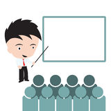 Zakenman met volkeren en whiteboard in vergadering voor uitwisselings van ideeënconcept op witte achtergrond Royalty-vrije Stock Afbeeldingen