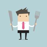 Zakenman met vork en mes Royalty-vrije Stock Afbeeldingen