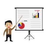 Zakenman onderhavige bedrijfs succesvolle grafiek stock illustratie