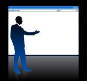 Zakenman op achtergrond met Webbrowser Stock Foto's