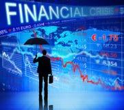 Zakenman op Blauwe Financiële Crisisgrafiek Royalty-vrije Stock Foto