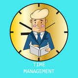 Zakenman op de achtergrond van uren Vector moderne illustratie in vlakke stijl met de mannelijke chronometer van de handholding V Royalty-vrije Stock Foto