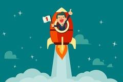 Zakenman op een raket Royalty-vrije Stock Foto