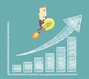 Zakenman op gloeilamp die aan succes vliegen die een positief in kaart brengen Stock Fotografie