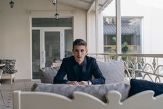 Zakenman op het balkon Royalty-vrije Stock Fotografie