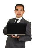 Zakenman op Laptop Stock Foto