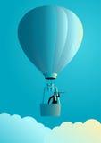Zakenman op luchtballon die telescoop gebruiken royalty-vrije illustratie