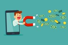 Zakenman op slimme het gebruiksmagneet van het telefoonscherm om geld aan te trekken Stock Afbeelding
