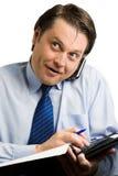 Zakenman op telefoon Stock Foto's