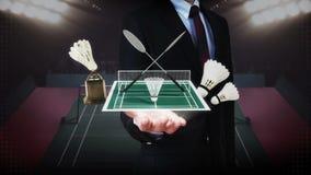 Zakenman open palm, Badmintonpictogram, shuttle, netto, Badmintonstadion stock footage