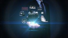 Zakenman open palm, Voertuigdelen, Motor, zetel, Controlebord, navigatie, Versnellerpedaal, audio videosysteem stock footage