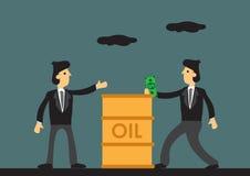 Zakenman Paying voor de Vectorillustratie van het Vat Olie Beeldverhaal vector illustratie