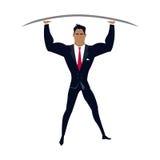 Zakenman Posing als Telamon stock illustratie