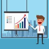 Zakenman Presenting en het richten van bedrijfs de groeigrafiek vector illustratie