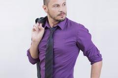 Zakenman in purple Royalty-vrije Stock Fotografie