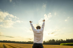 Zakenman Raising Arms voor Succes bij het Gebied stock afbeelding