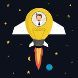 Zakenman in raket die in ideebol vliegen Royalty-vrije Stock Fotografie