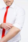 Zakenman in rode stropdas. Royalty-vrije Stock Afbeeldingen
