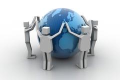 Zakenman rond de wereld Stock Fotografie
