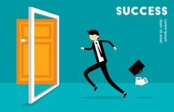 Zakenman Run aan Succesillustratie Stock Foto's