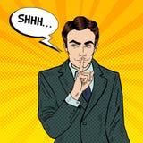 Zakenman Silent Quite Gesture met Vinger Geheimzinnigheid Geheim Pop-art vector illustratie