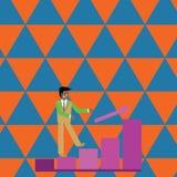 Zakenman Smiling en omhoog het Beklimmen van het Staafdiagram De gelukkige Mens in Kostuum na een Pijl gaat de Zuilvormige Grafie stock illustratie