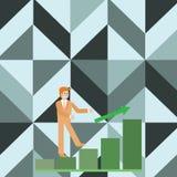 Zakenman Smiling en omhoog het Beklimmen van het Staafdiagram De gelukkige Mens in Kostuum na een Pijl gaat de Zuilvormige Grafie royalty-vrije illustratie