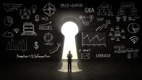 Zakenman Standing voor Sleutelgat, businessplan en diverse grafiek stock illustratie